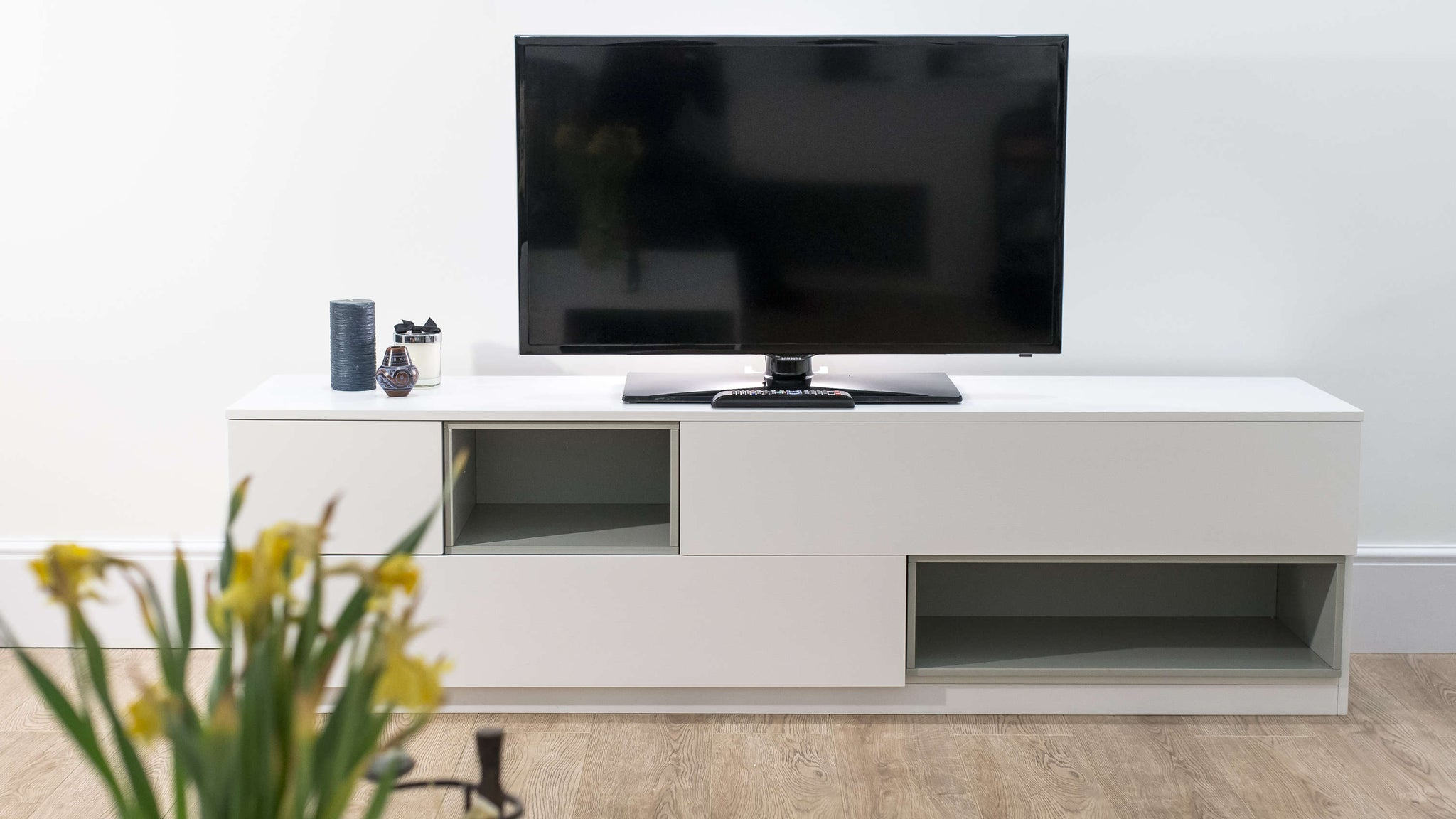 White and Grey Wooden TV Table with Storage