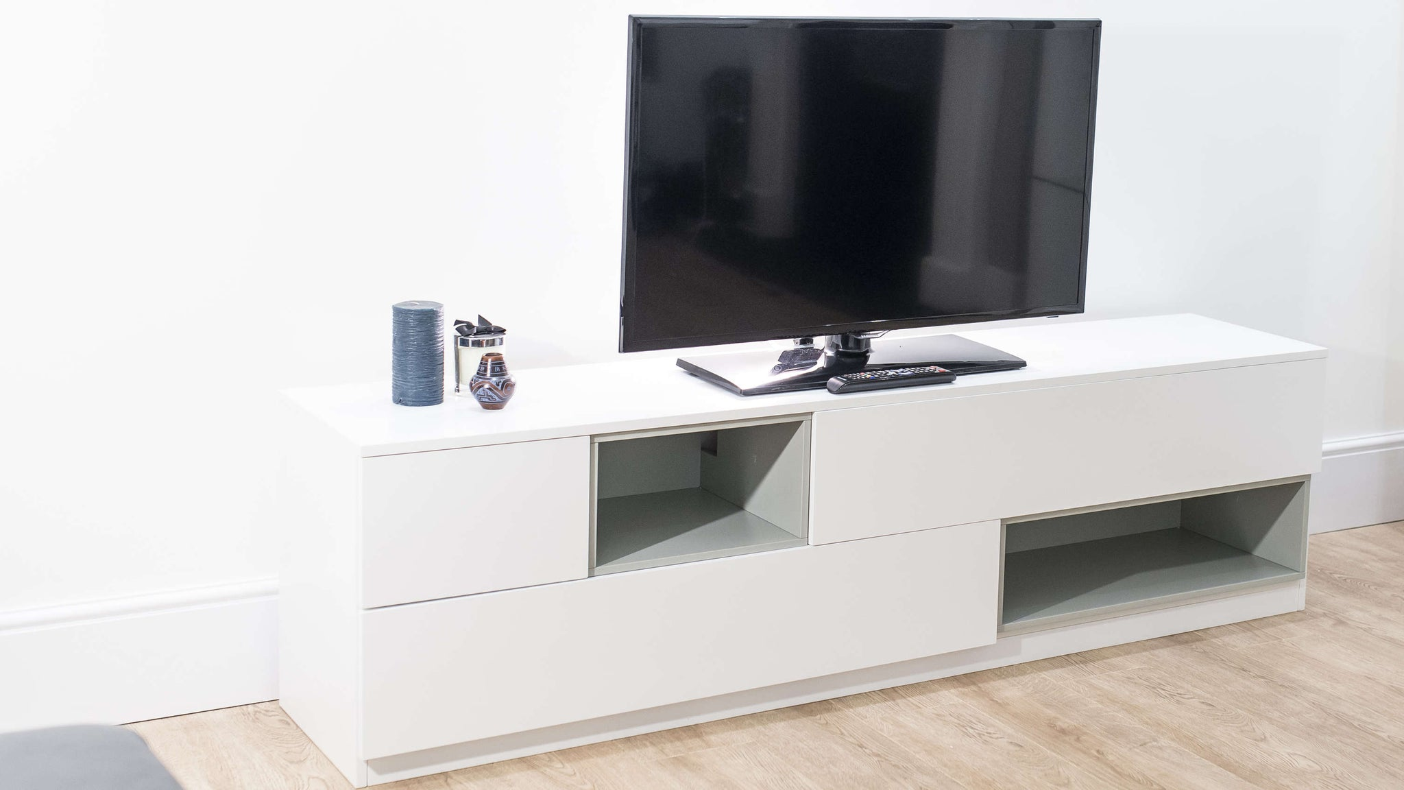 Modern White Wooden TV Unit