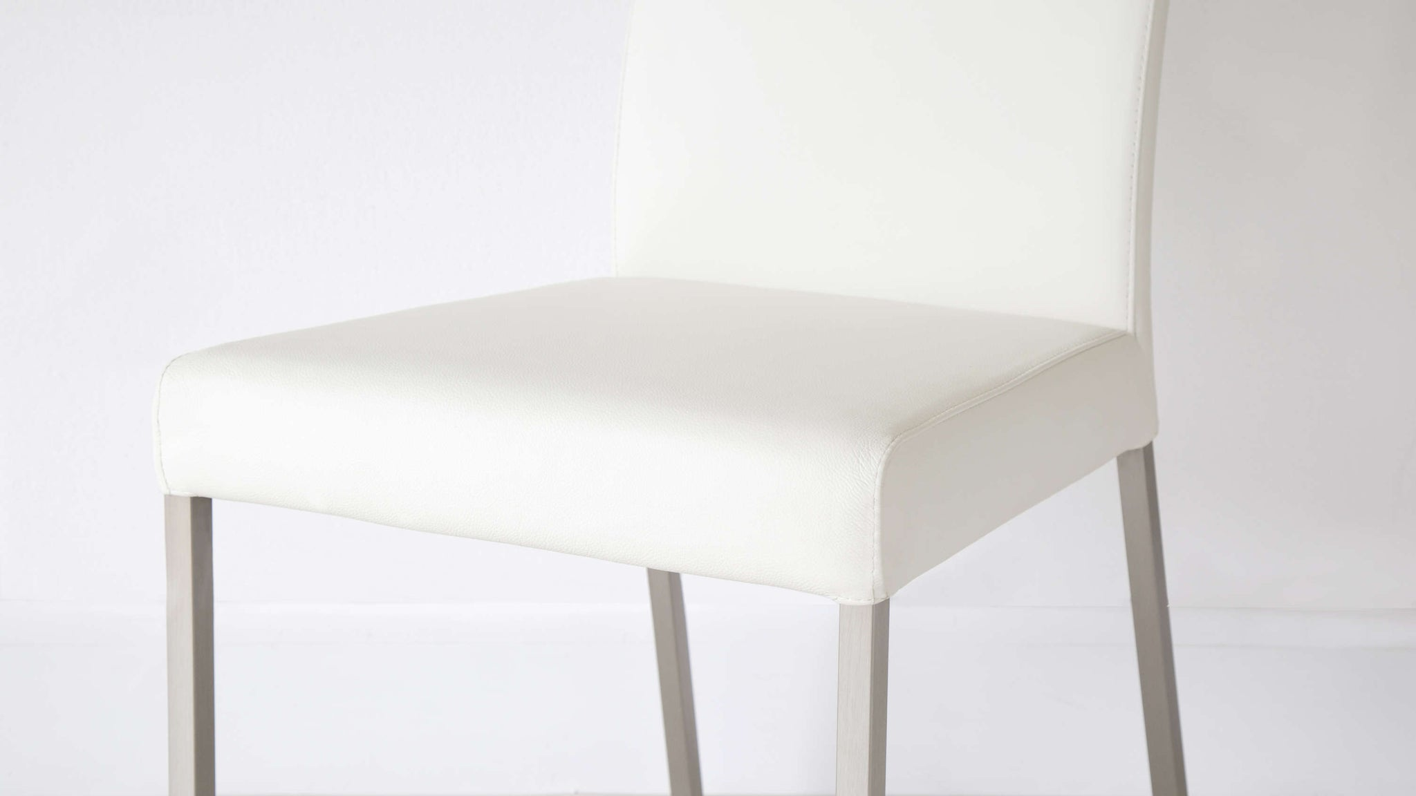 Family White Real Leather Dining Chairs