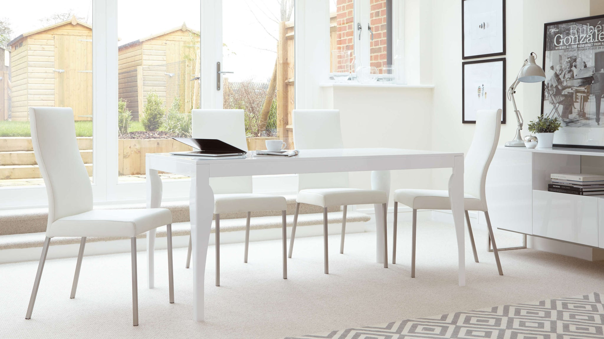 White Gloss Dining Table and Real Leather Dining Chairs