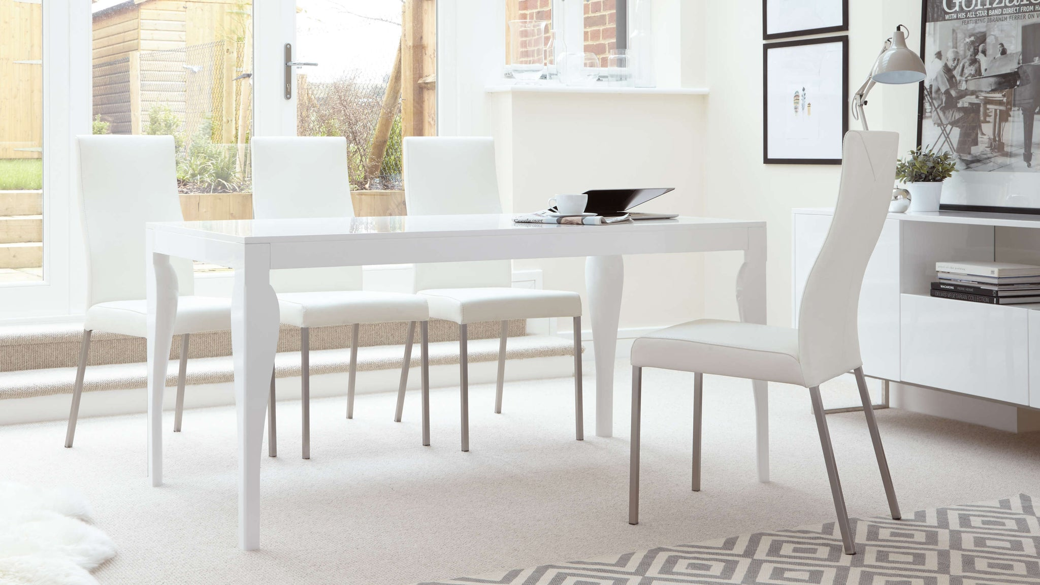Large 6 Seater White Gloss Dining Set
