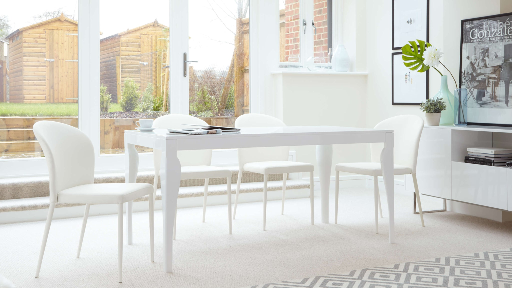 Large White Gloss Dining Set with White Chairs