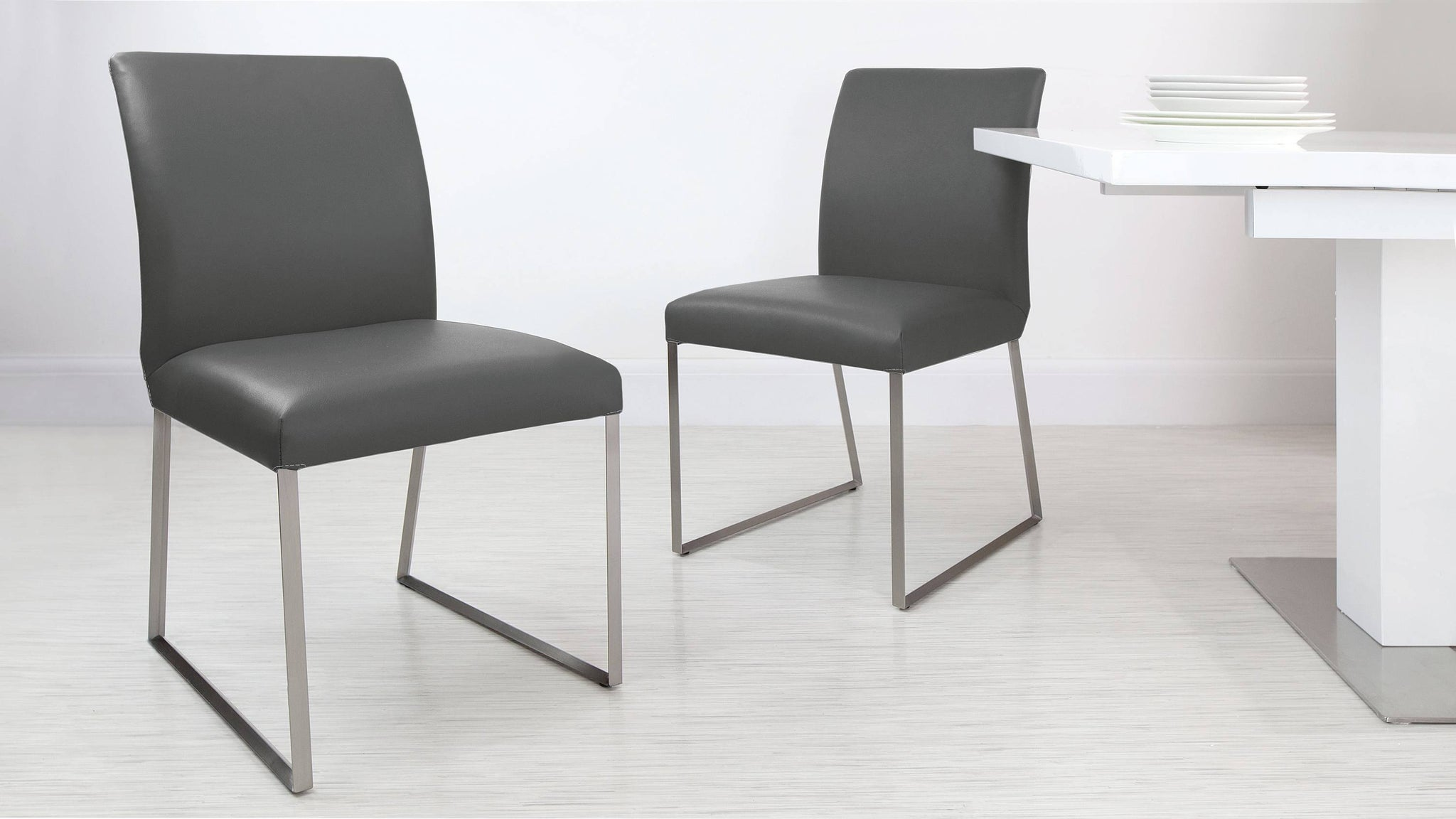 Grey Real Leather Dining Chairs