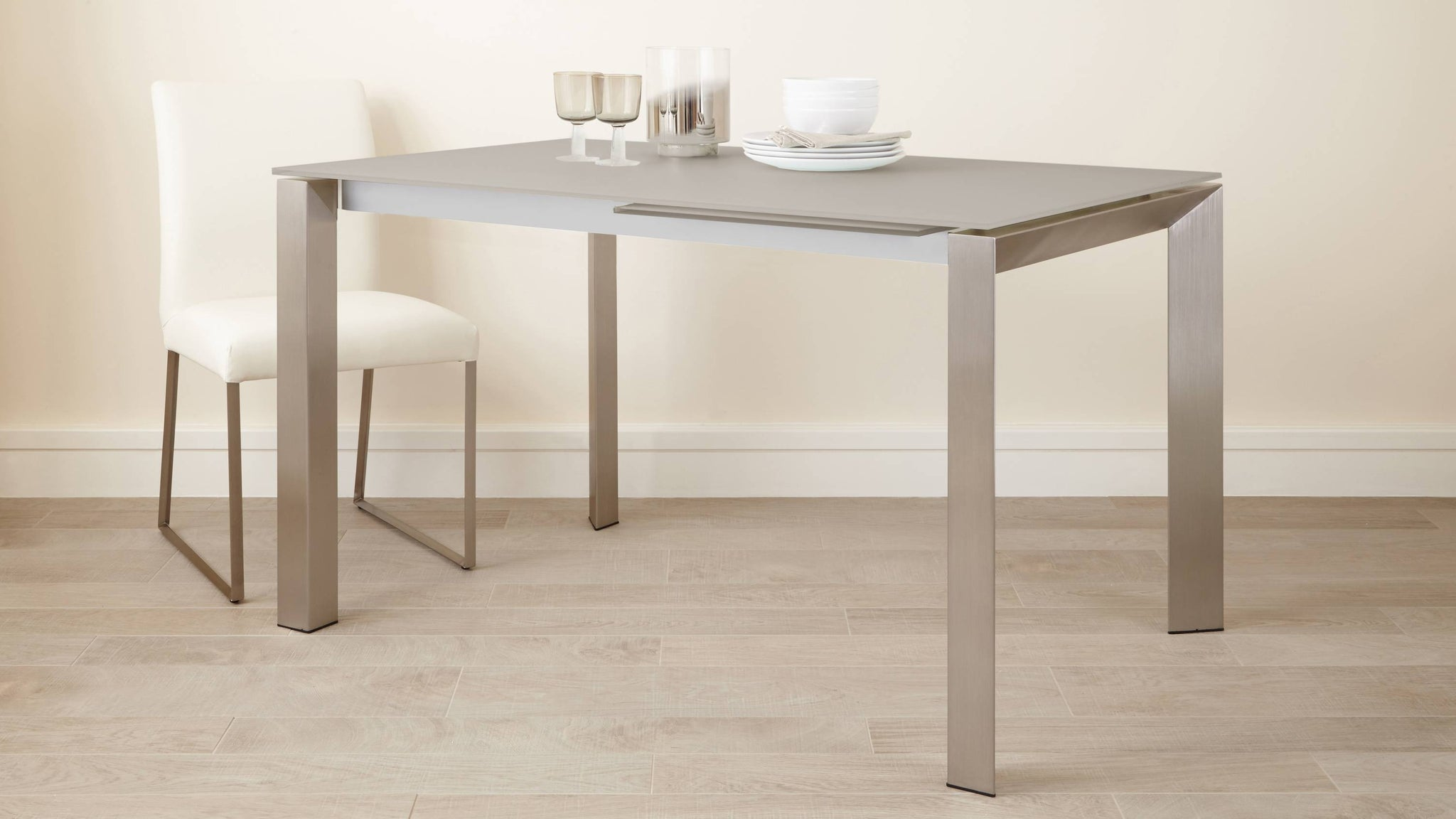 Glass Dining Table in Grey