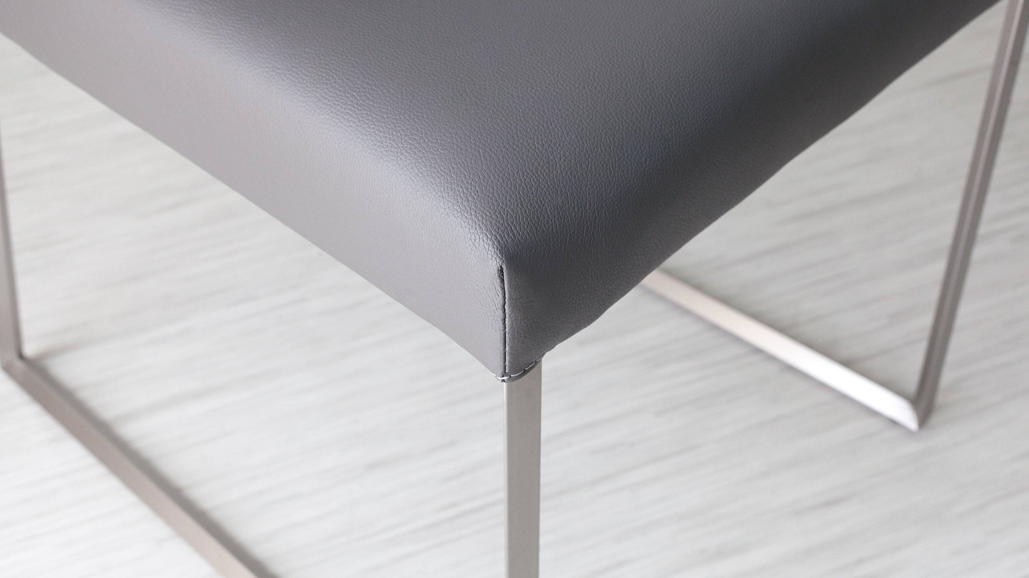 Stylish Grey Leather Dining Chairs
