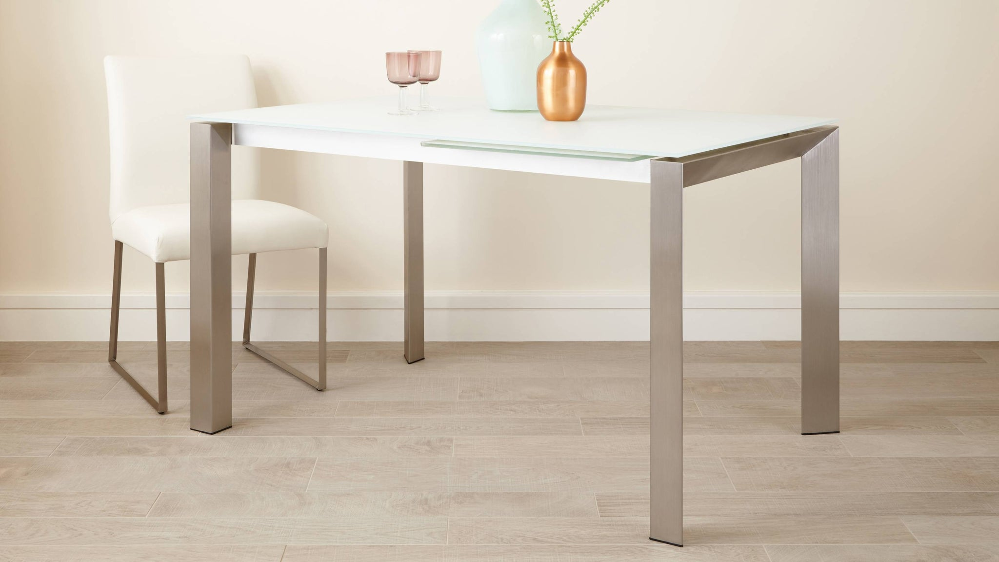 Brushed Metal Legged Extending Dining Table
