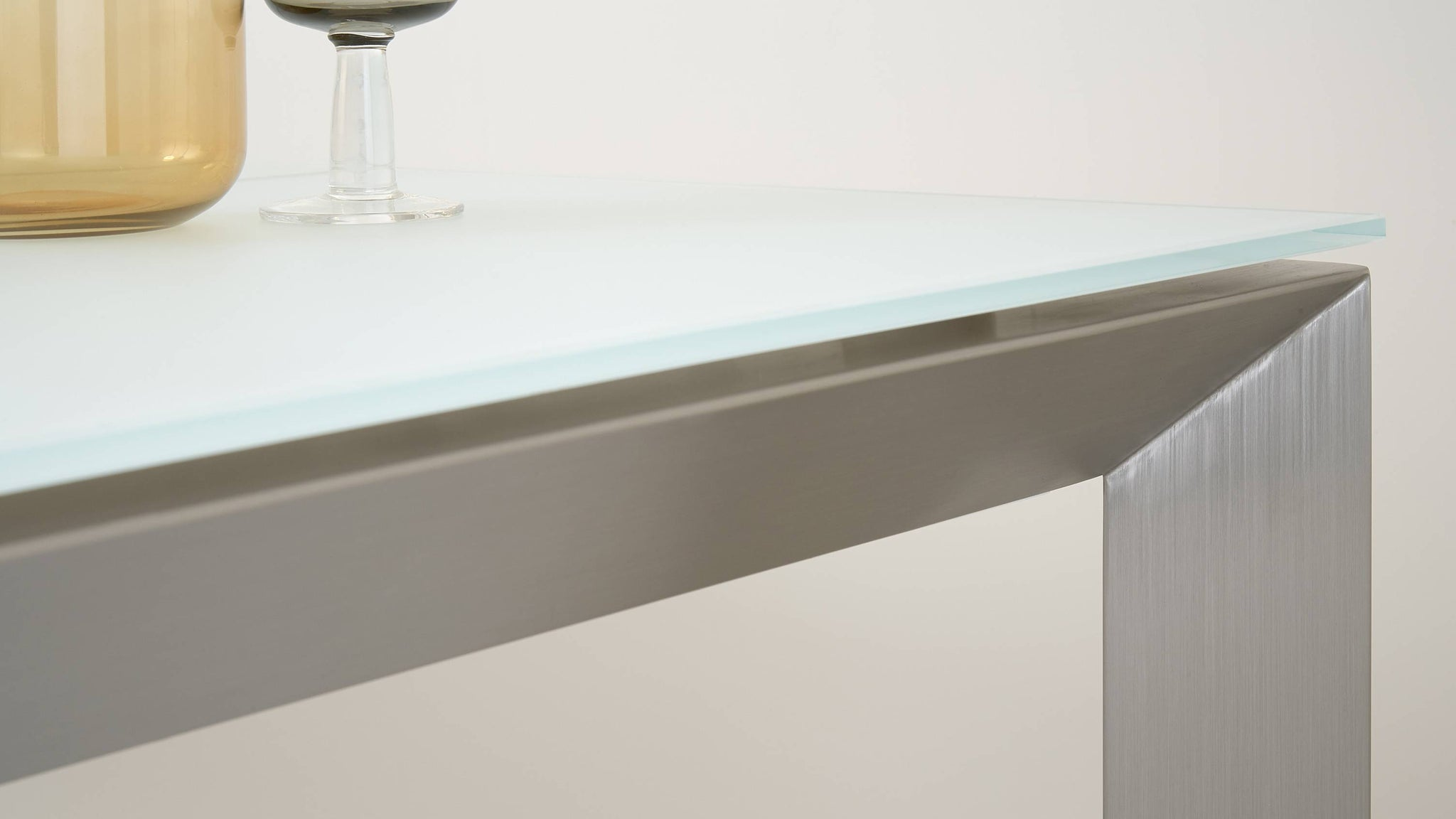 Stylish Glass and Brushed Metal Dining Table