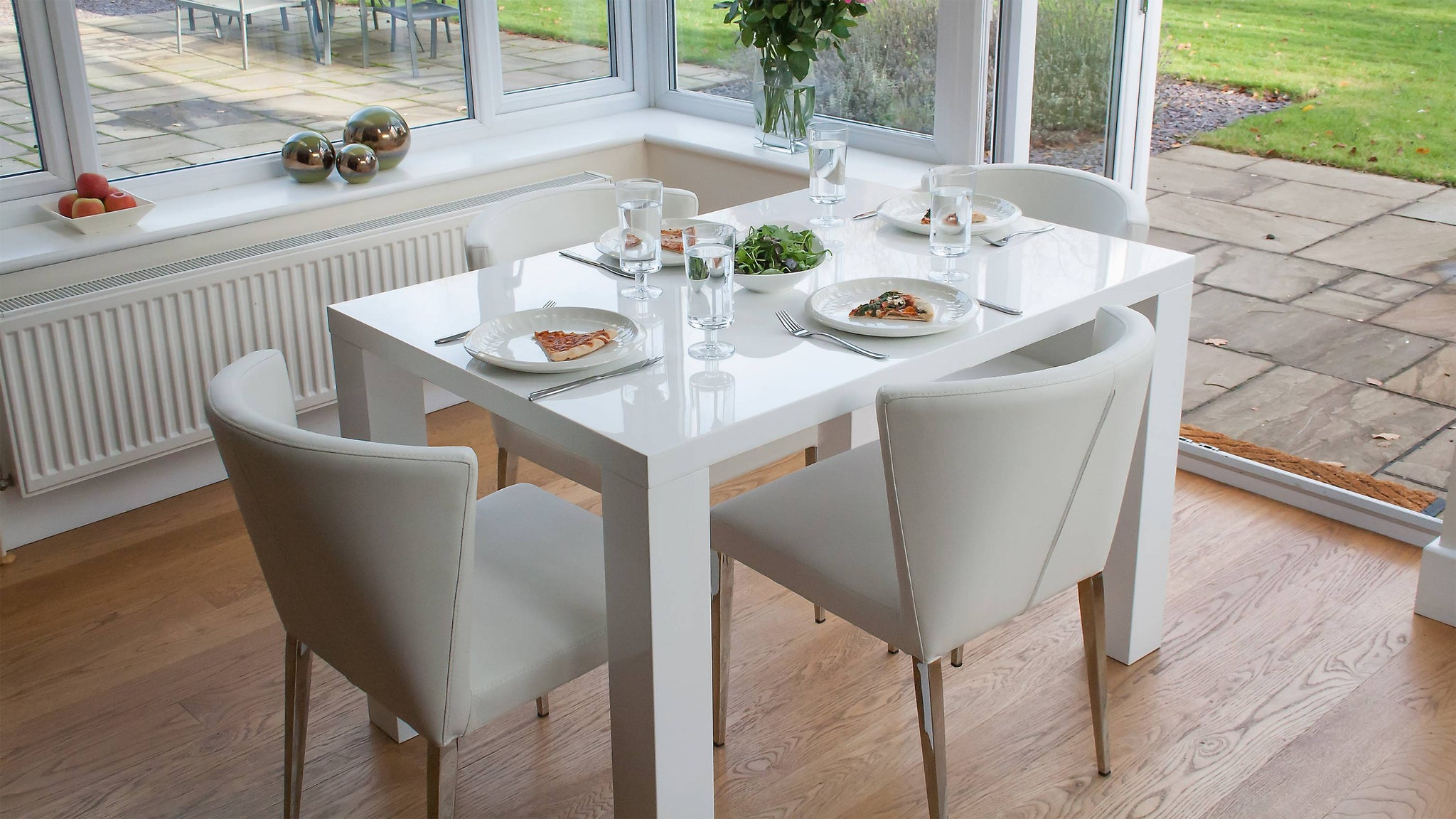 White Gloss and Faux Leather 4 Seater Dining Set