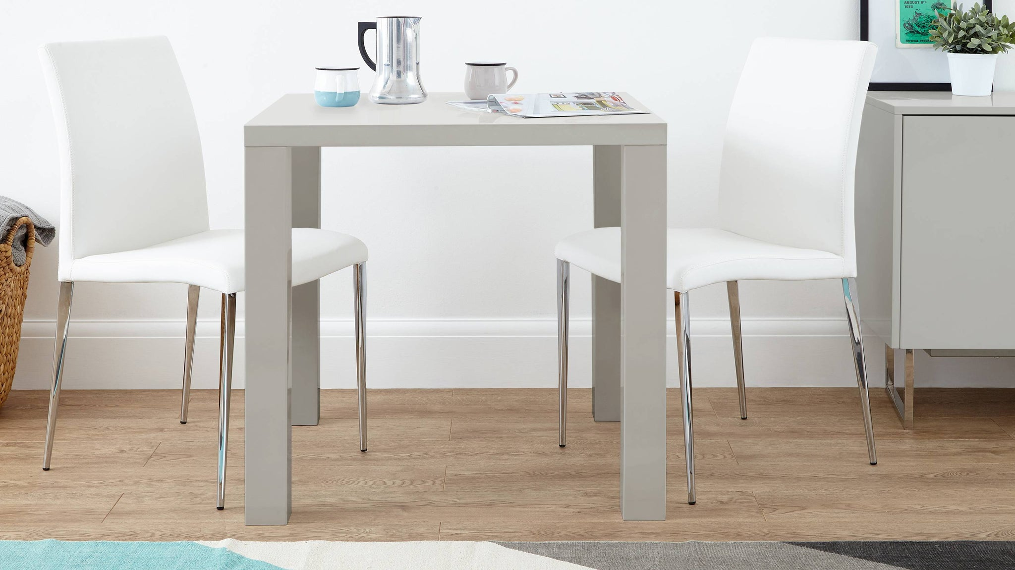 Small square grey gloss dining table