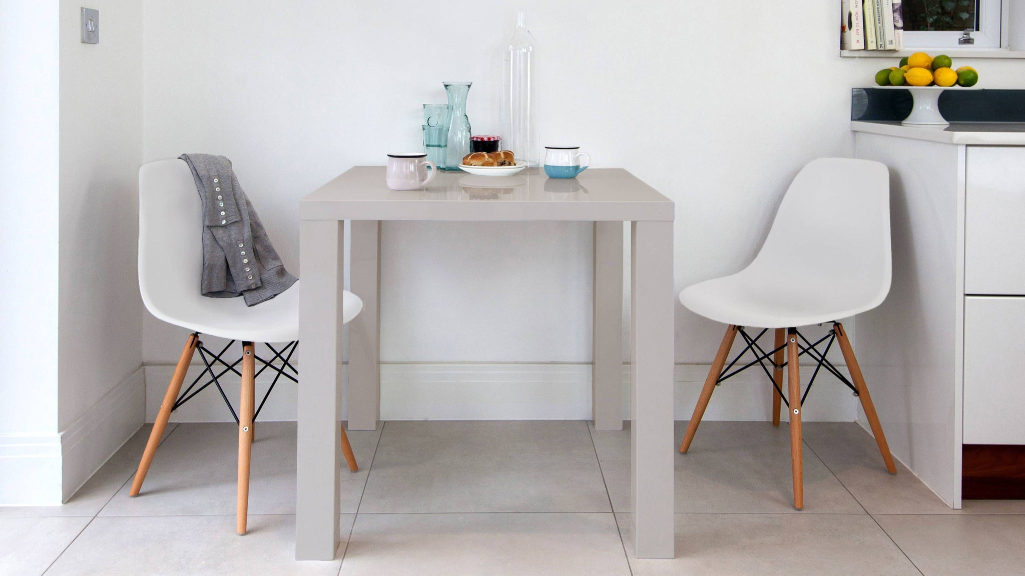 Modern grey gloss small dining table