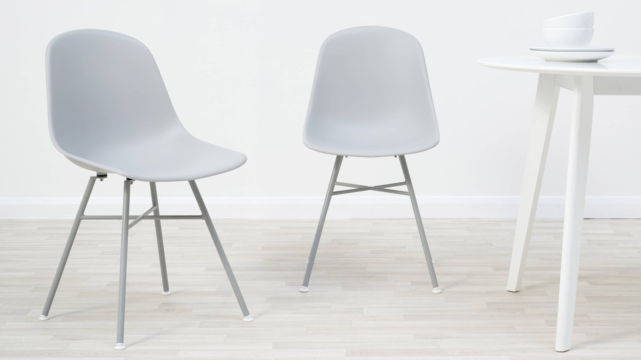 Moulded plastic dining chairs