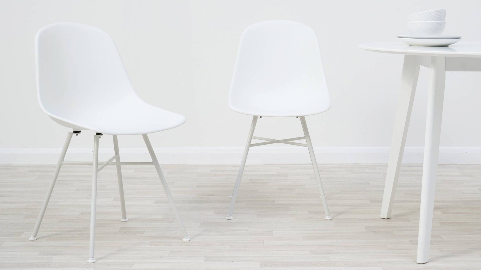 White strong easy clean plastic dining chair