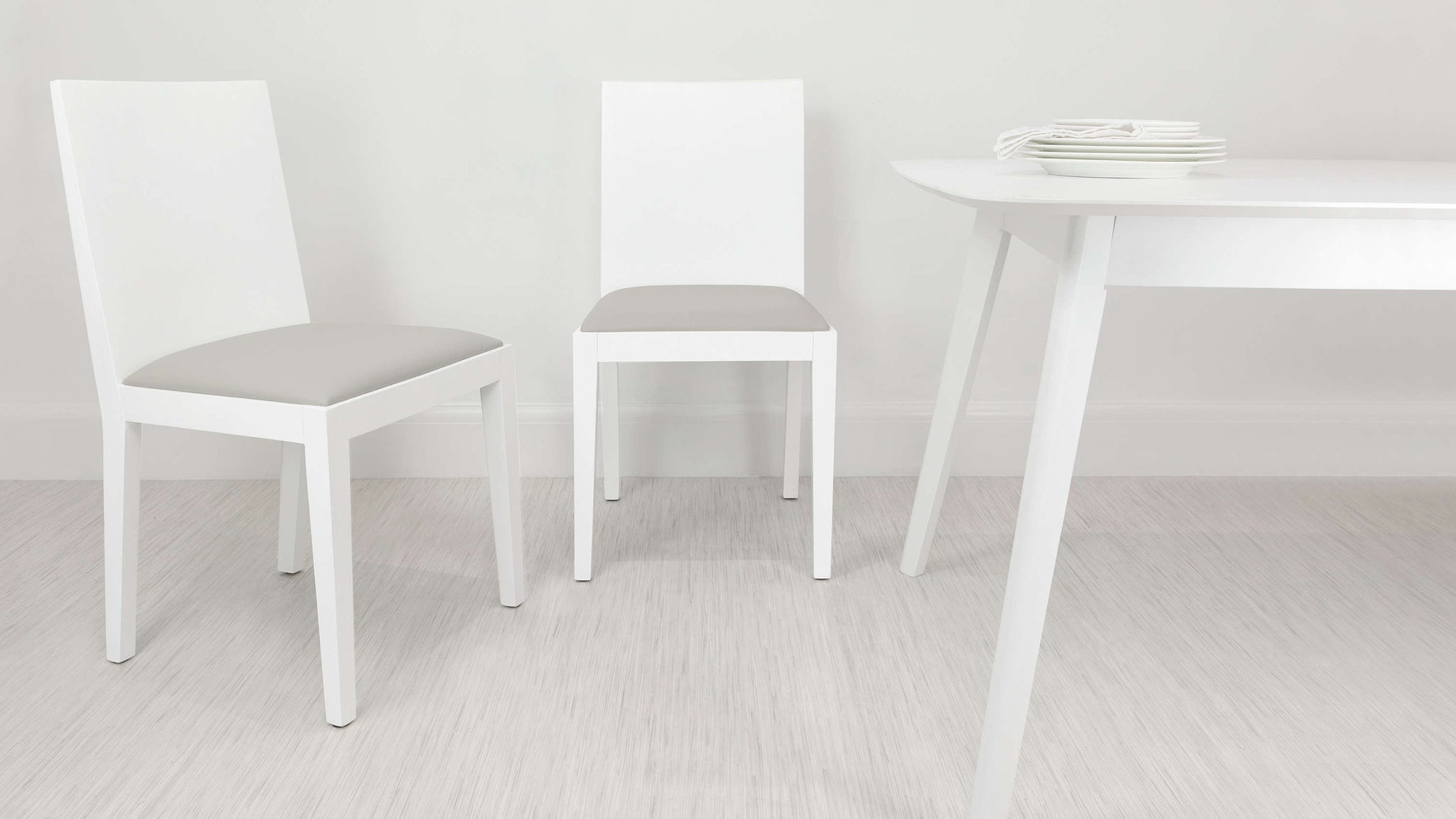 White and Grey Dining Chairs