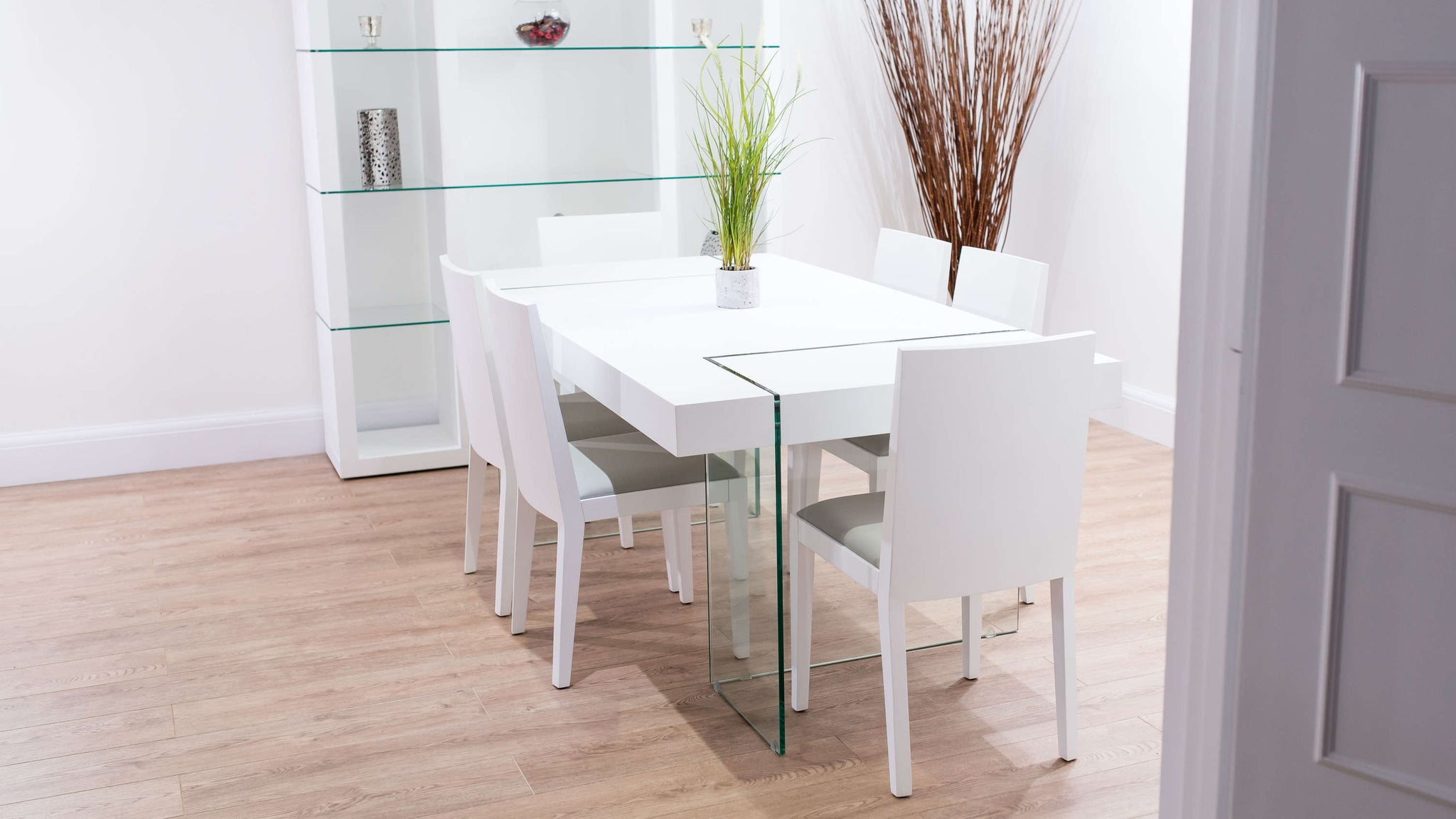 Modern Floating Dining Table and Matching Dining Chairs