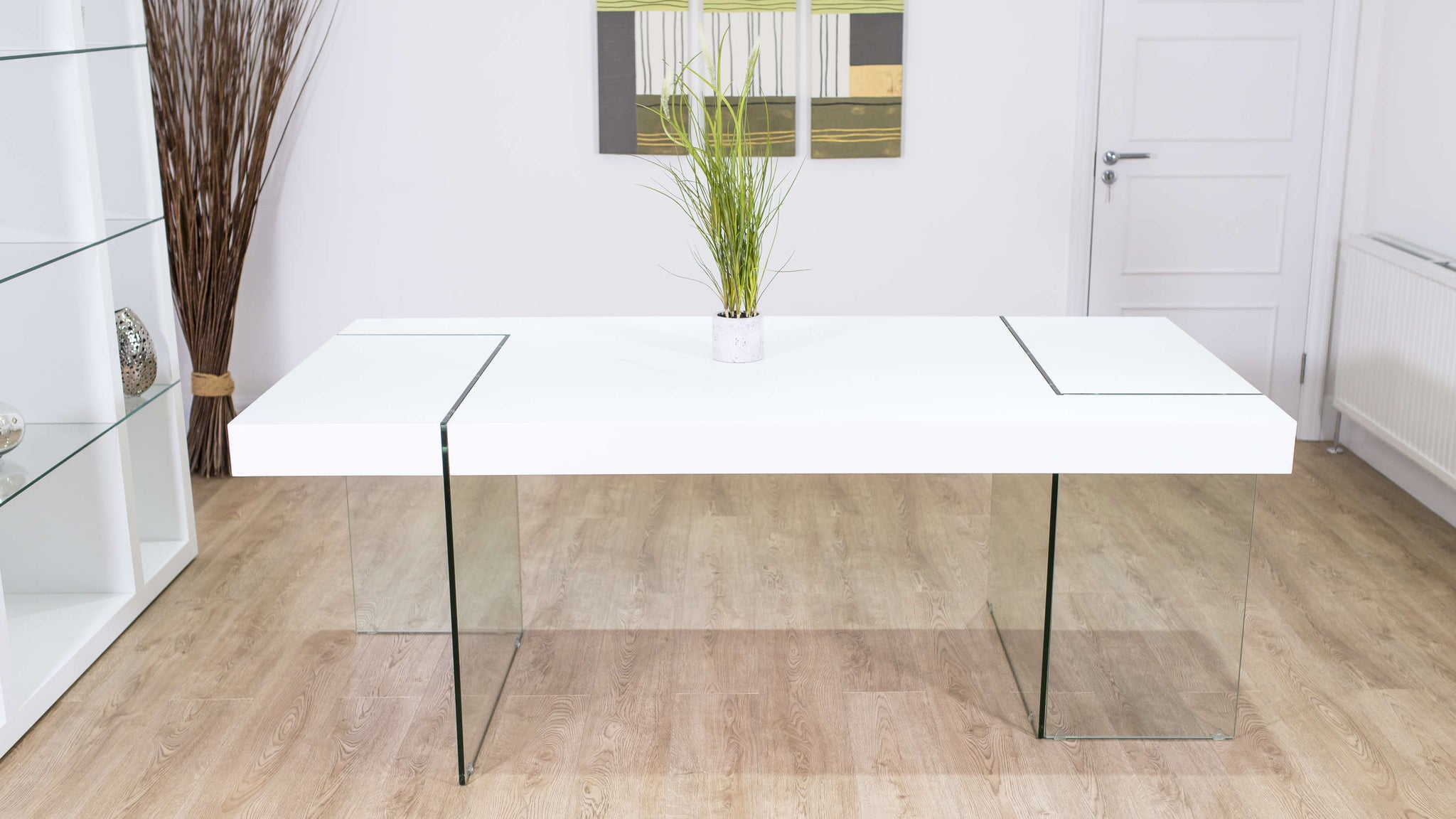 White Large Dining Table with Glass Legs