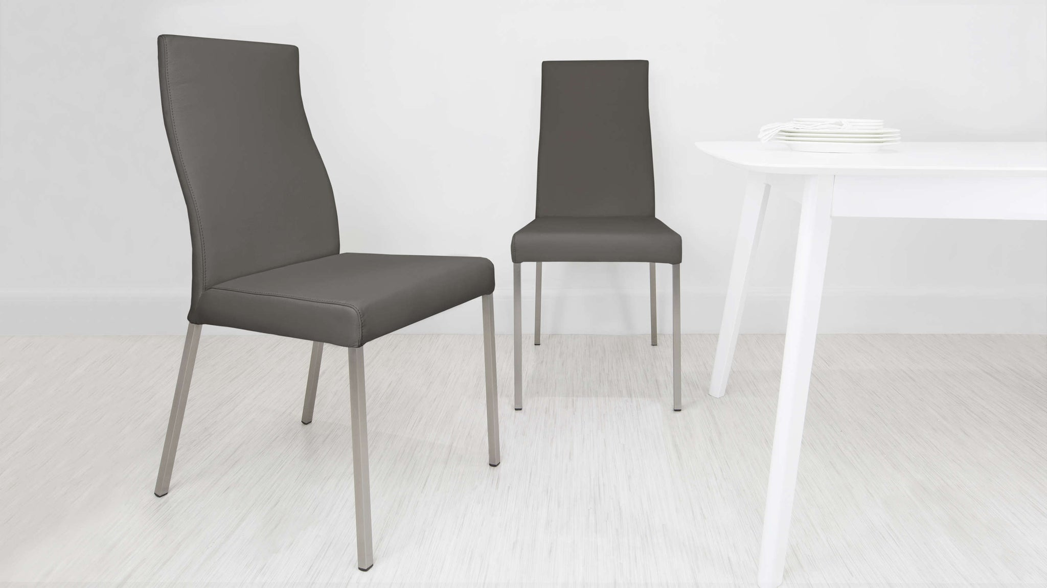 Large Grey Real Leather Dining Chairs