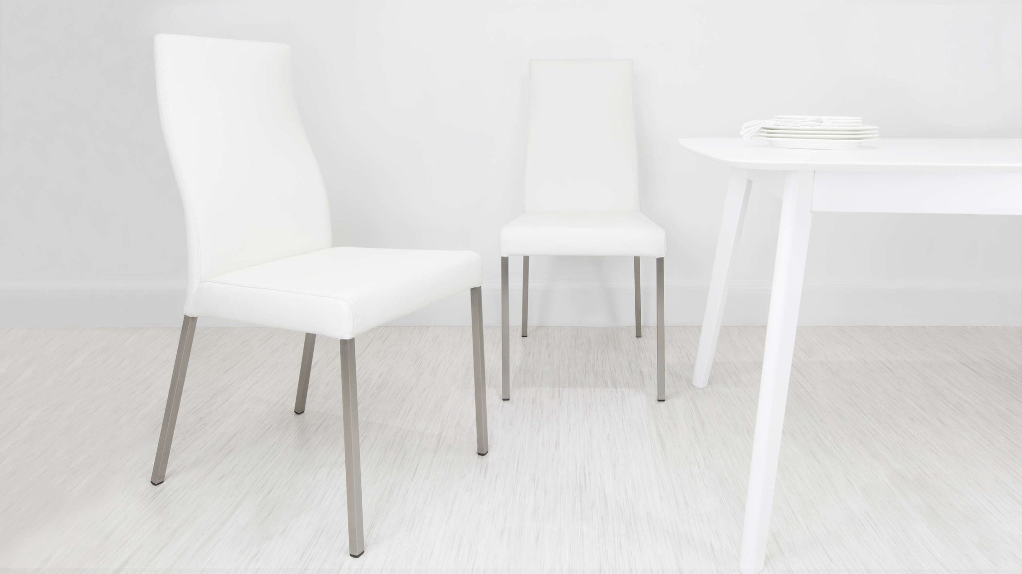 Large White Real Leather Dining Chairs