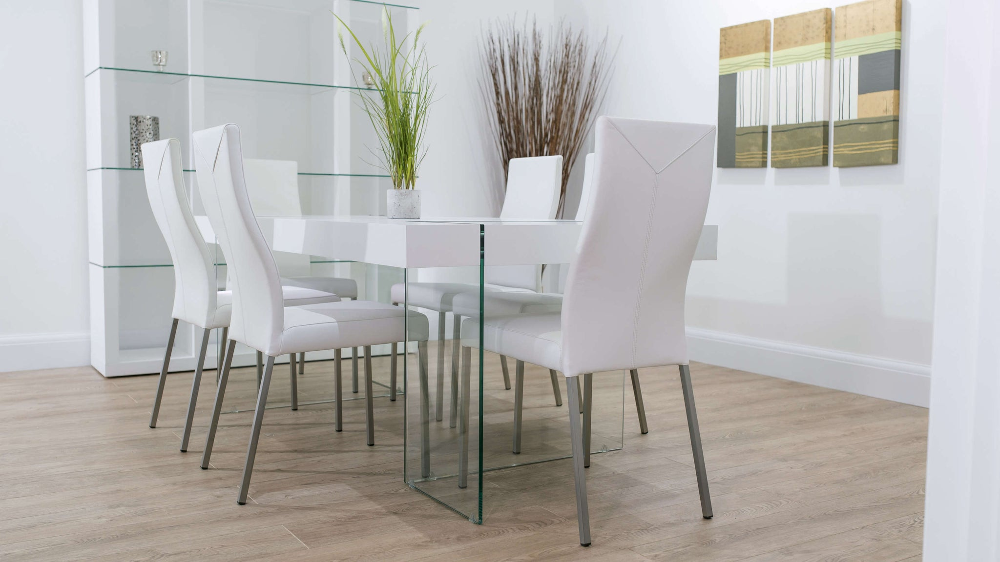 6 Seater White Dining Table and Real Leather Dining Chairs