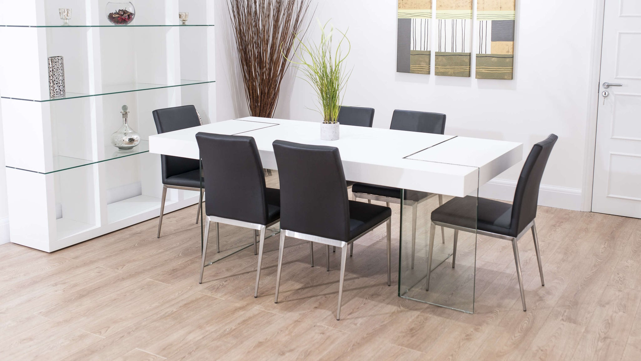 Large White Dining Table and Black Dining Chairs