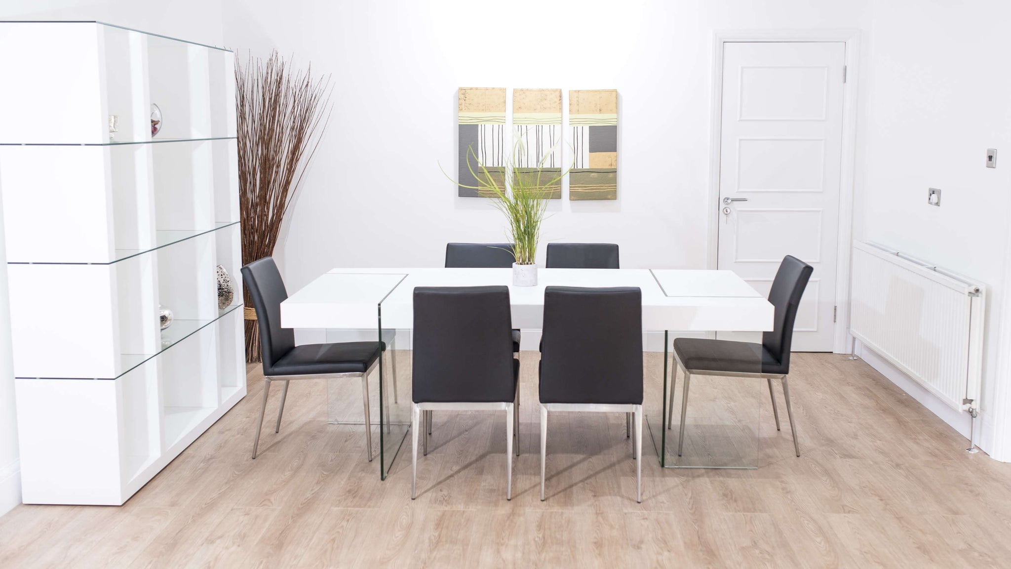 Stylish 6 Seater Dining Table and Black Dining Chairs