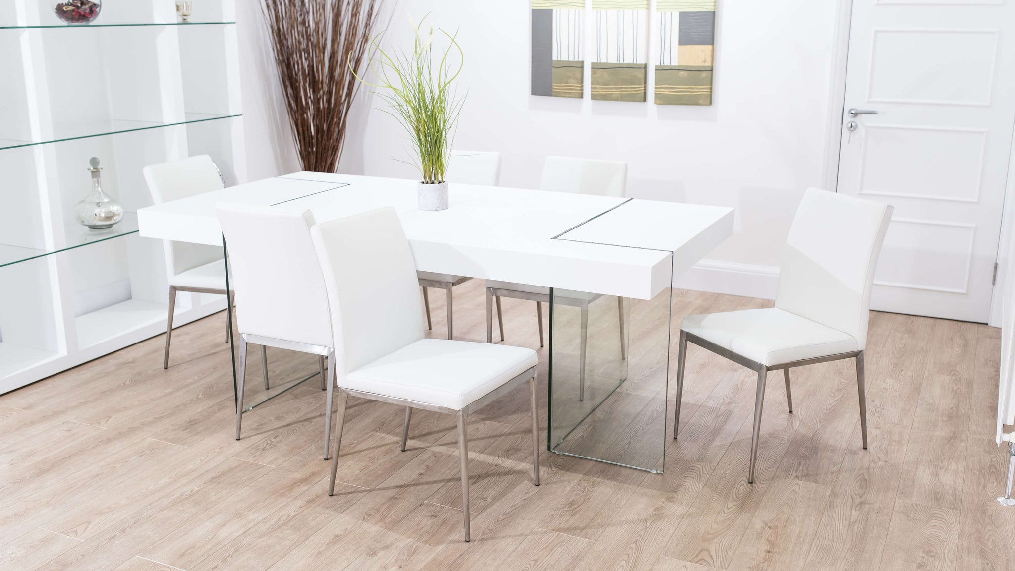 Contemporary White Glass Based Dining Set
