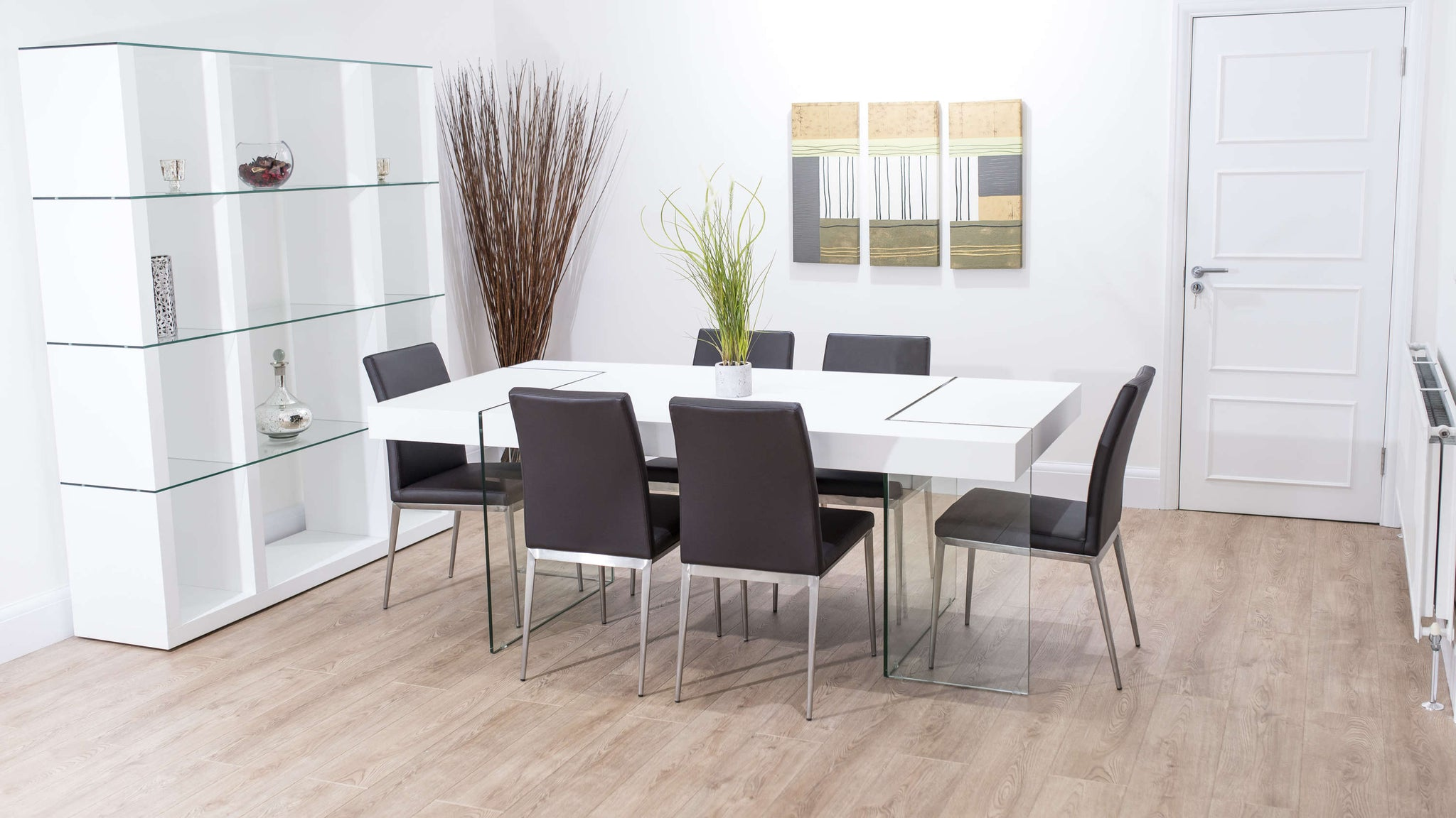 6 Seater Modern Brown and White Dining Set