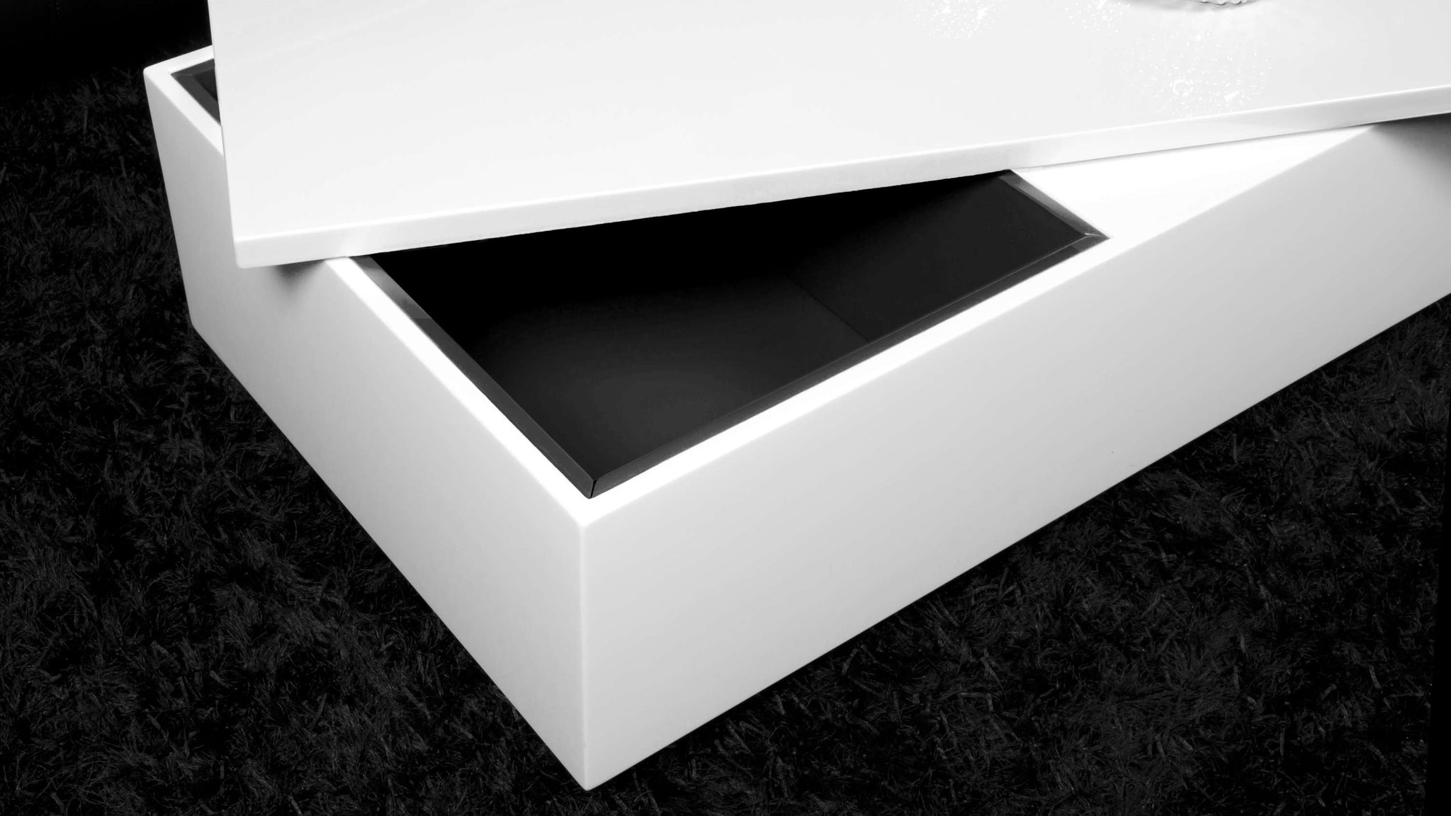 Large White Gloss Coffee Table with Internal Storage