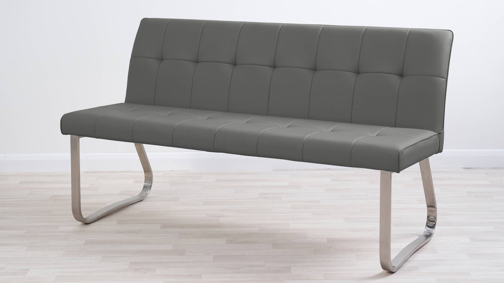 Graphite grey quilted dining bench