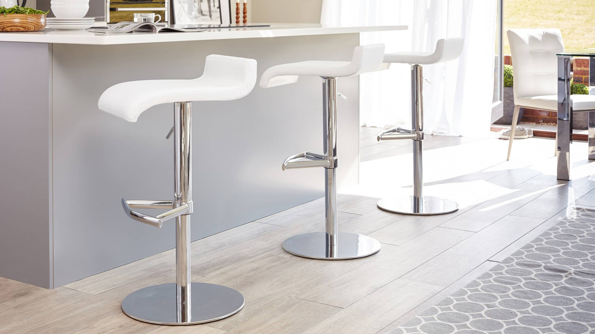 Modern Curved Faux Leather and Chrome Based Gas Lift Bar Stool