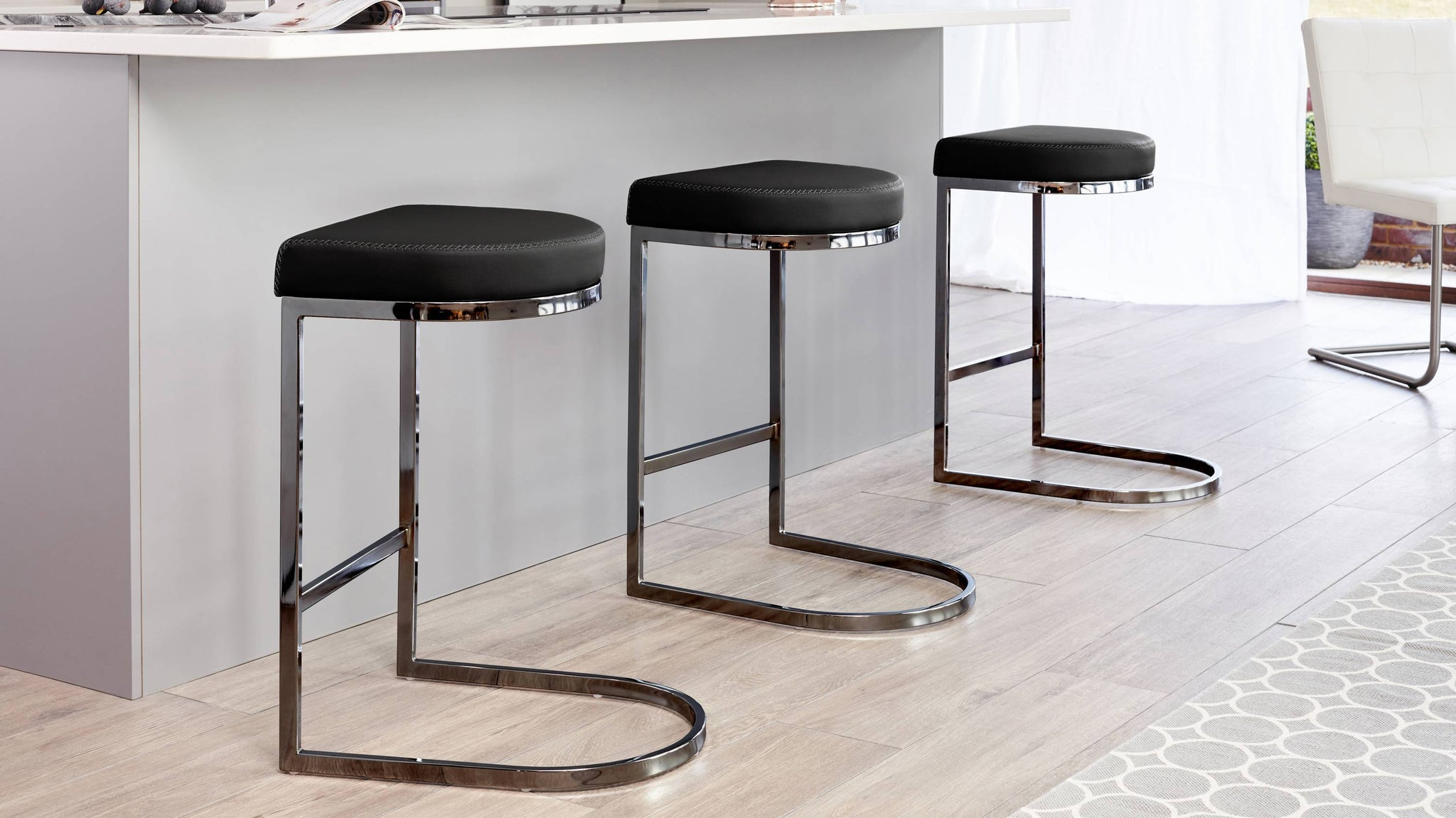 Black chrome and black leather stool