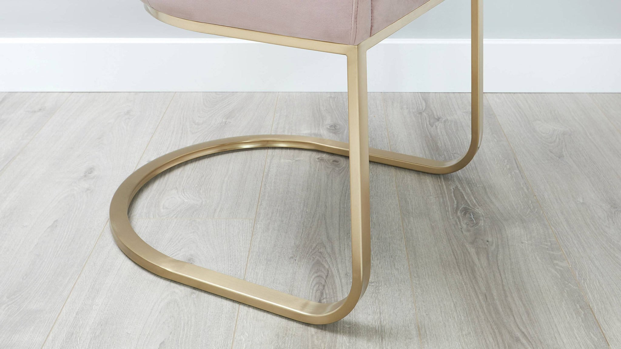 Blush velvet and brushed brass dining chair