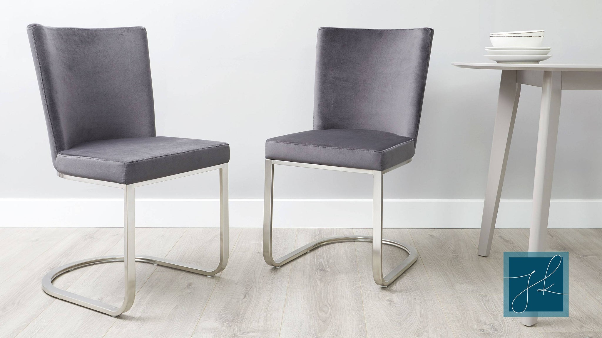 Form velvet cantilever dining chairs