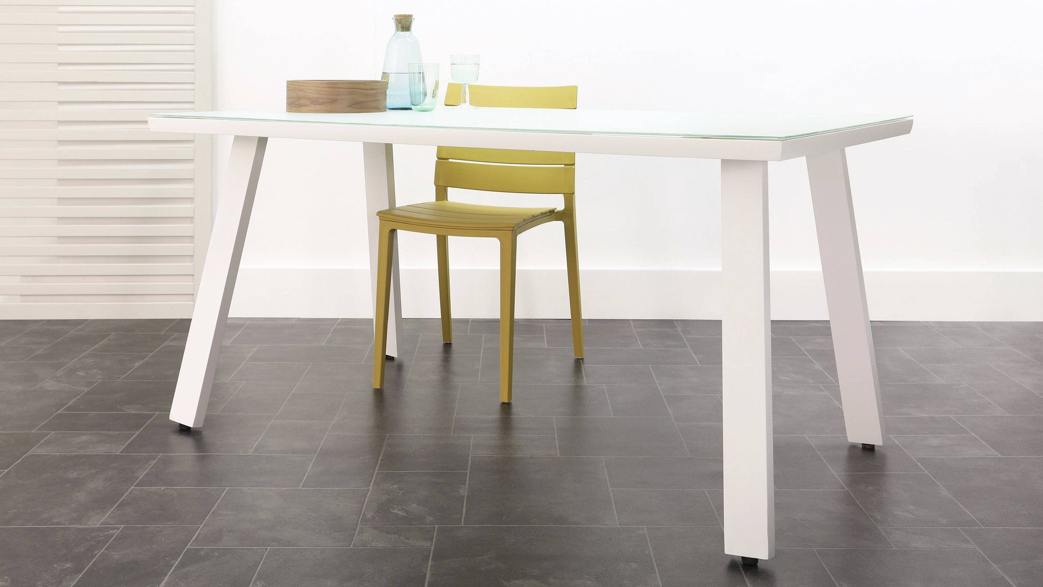 Fresco Grey 6 Seater Trestle Table and Edie Dining Set