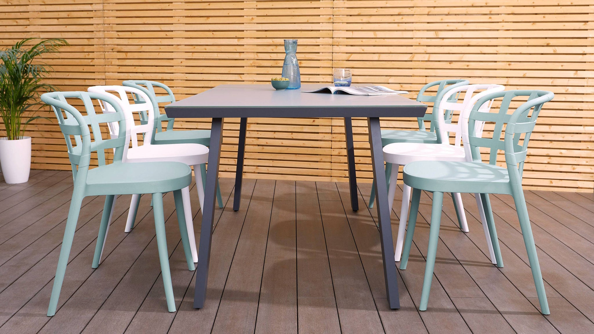 Fresco grey and skye large garden dining sets