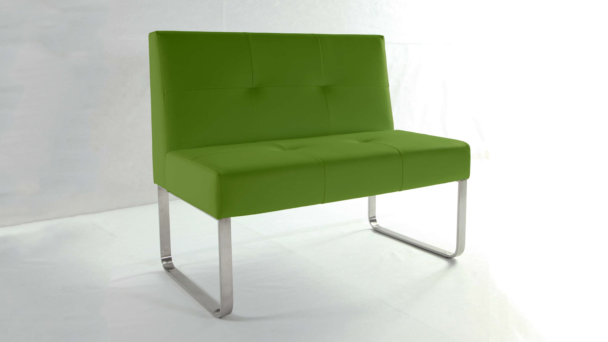 Contemporary Green and Chrome Dining Bench with Backrest