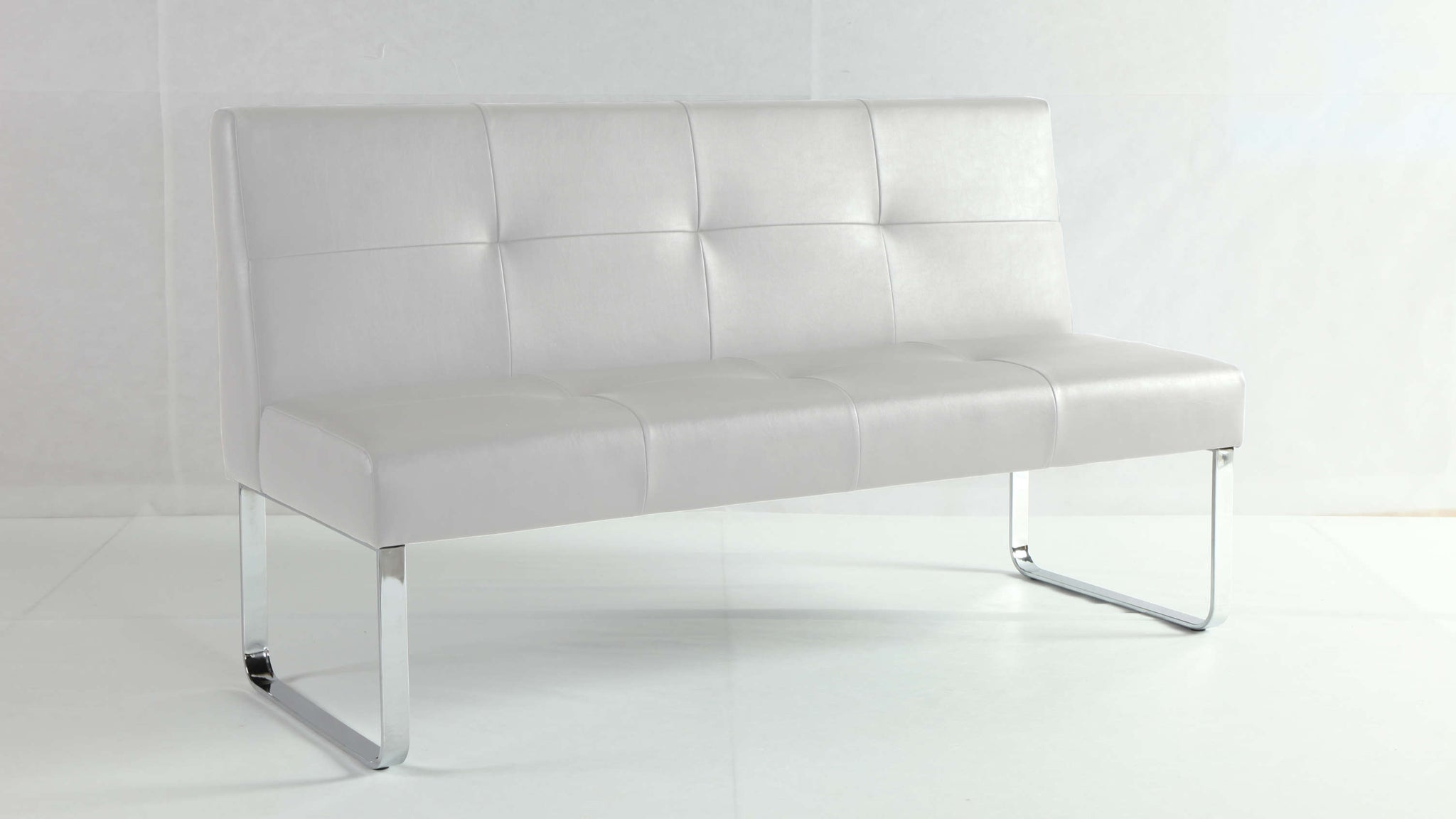 White Dining Bench with Backrest