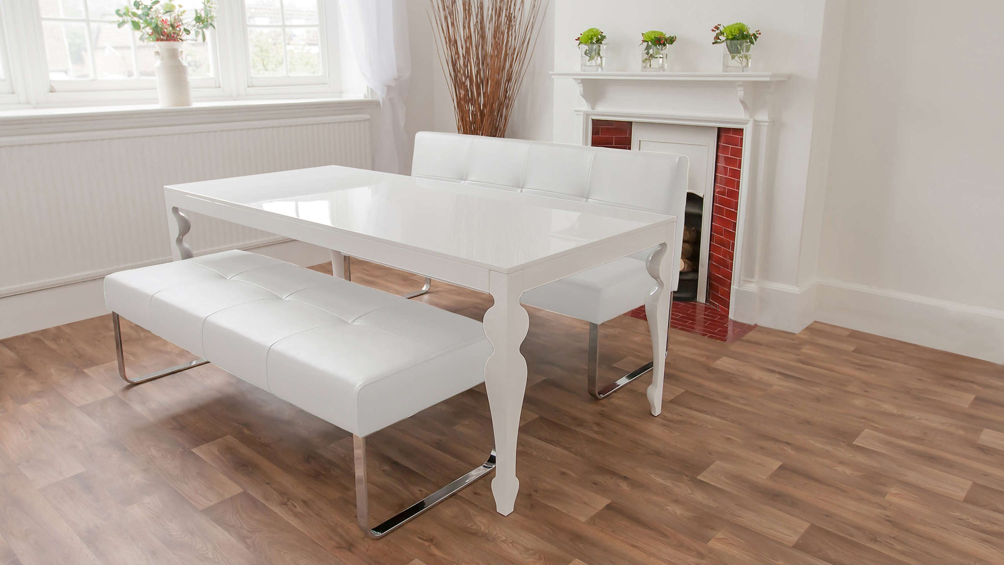 Modern White Dining Bench Set