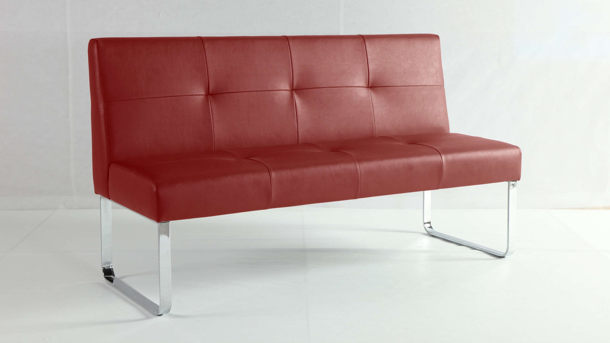 Dark Red Dining Bench with Backrest
