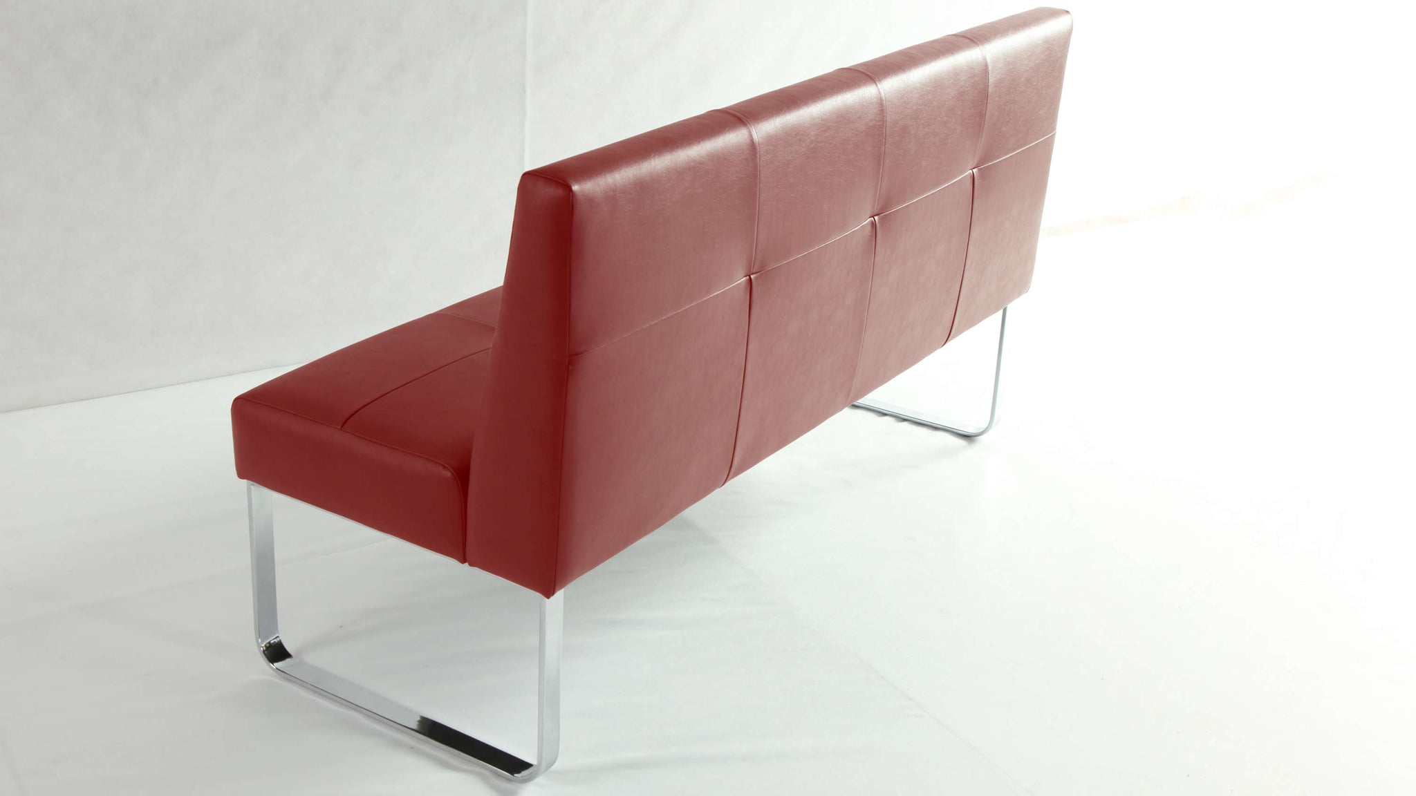 Large Red Dining Bench with Backrest