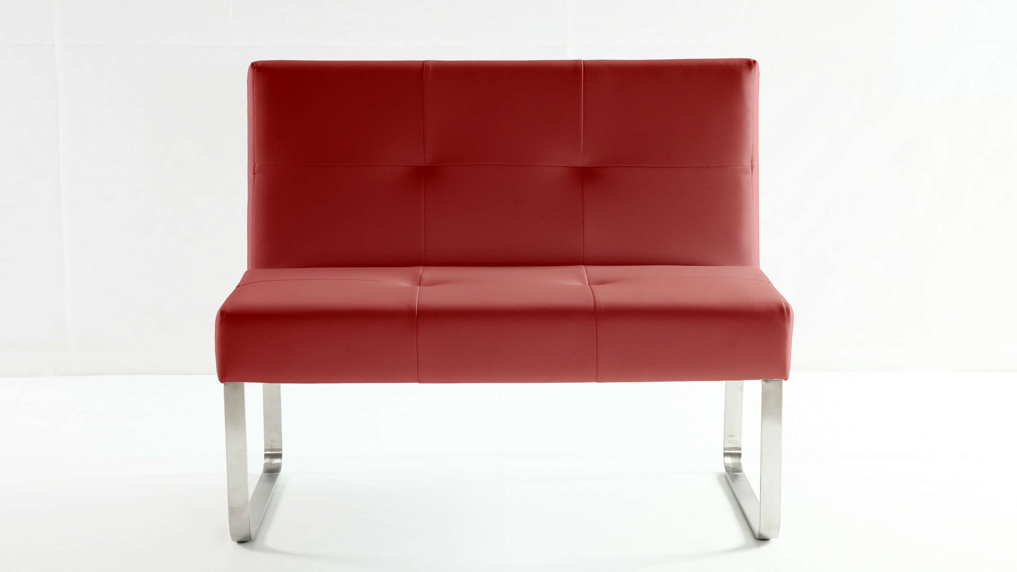 Comfortable Red Leather Dining Bench