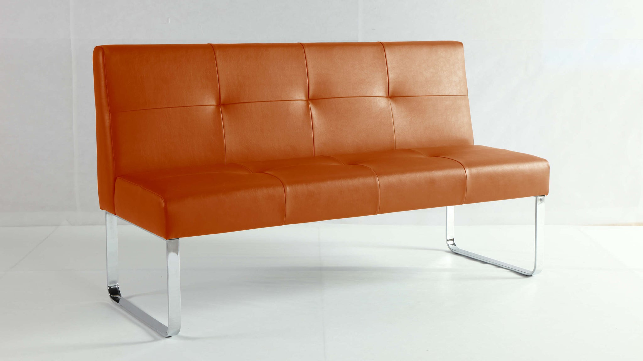 Orange Dining Bench with Backrest