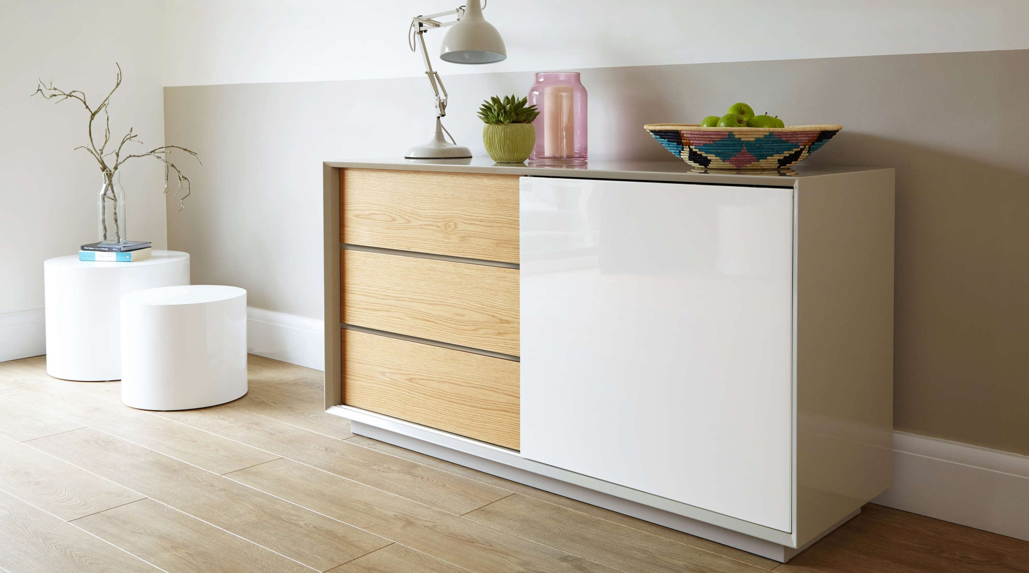 Contemporary White Gloss Grey Gloss and Oak Designer Sideboard Julia Kendell