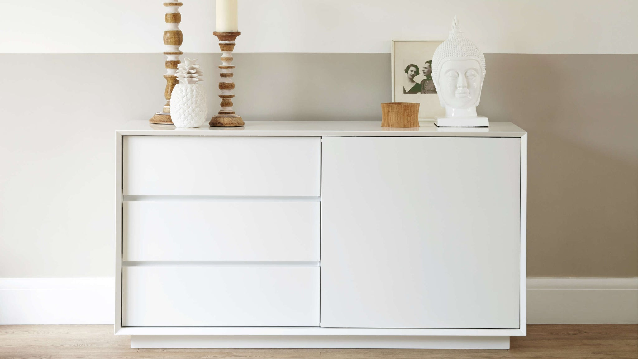 Designer Modern White Gloss Sideboard with Drawers Julia Kendell