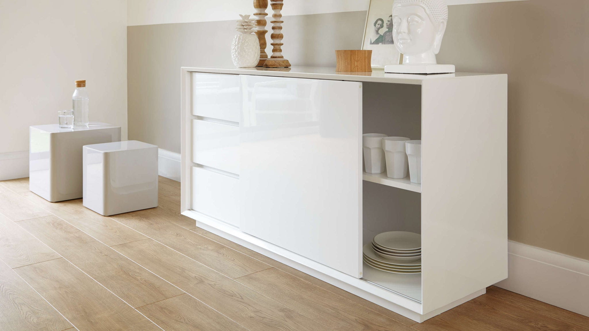 Designer Contemporary White Gloss Sideboard with Drawers Julia Kendell