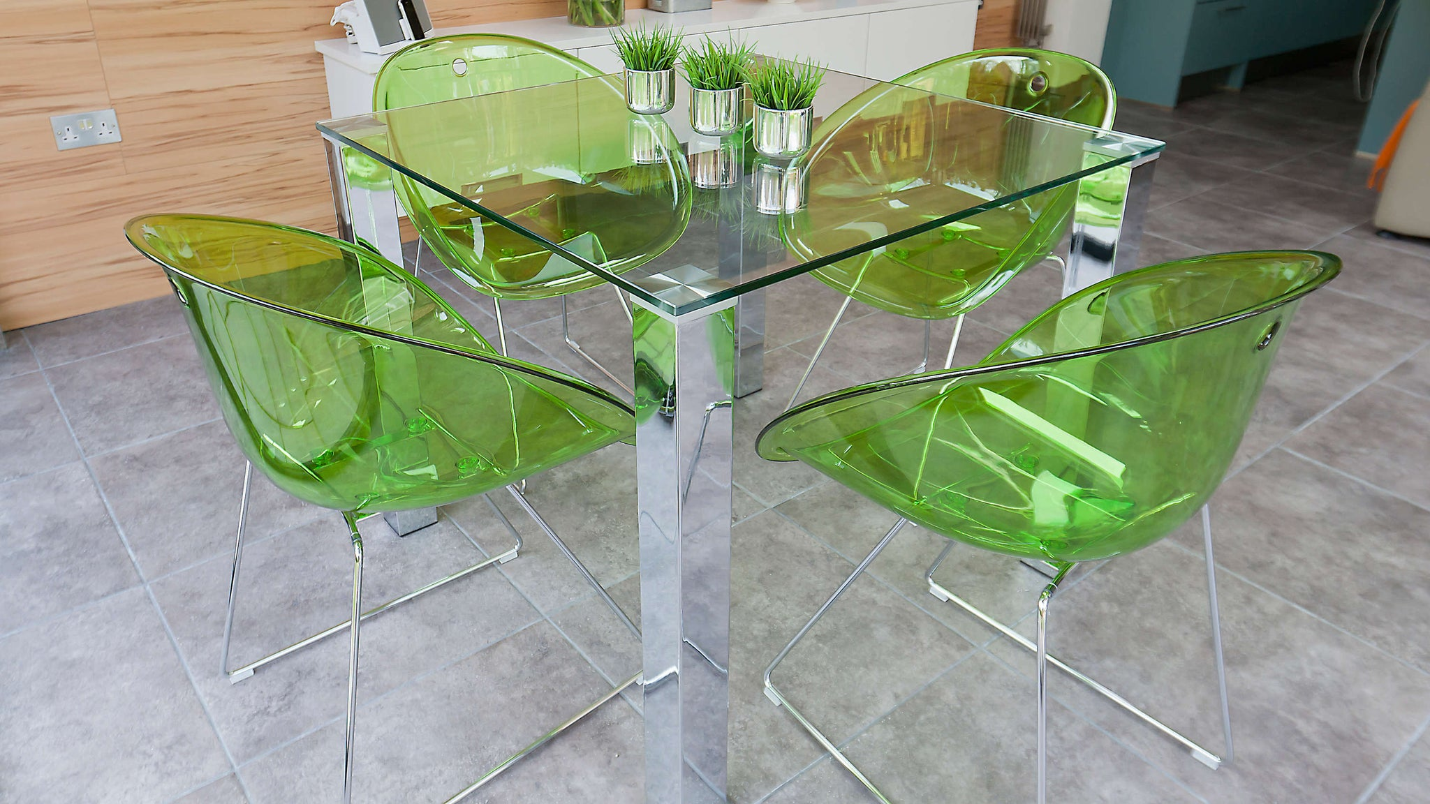 Modern Green Dining Chair with Chrome Legs