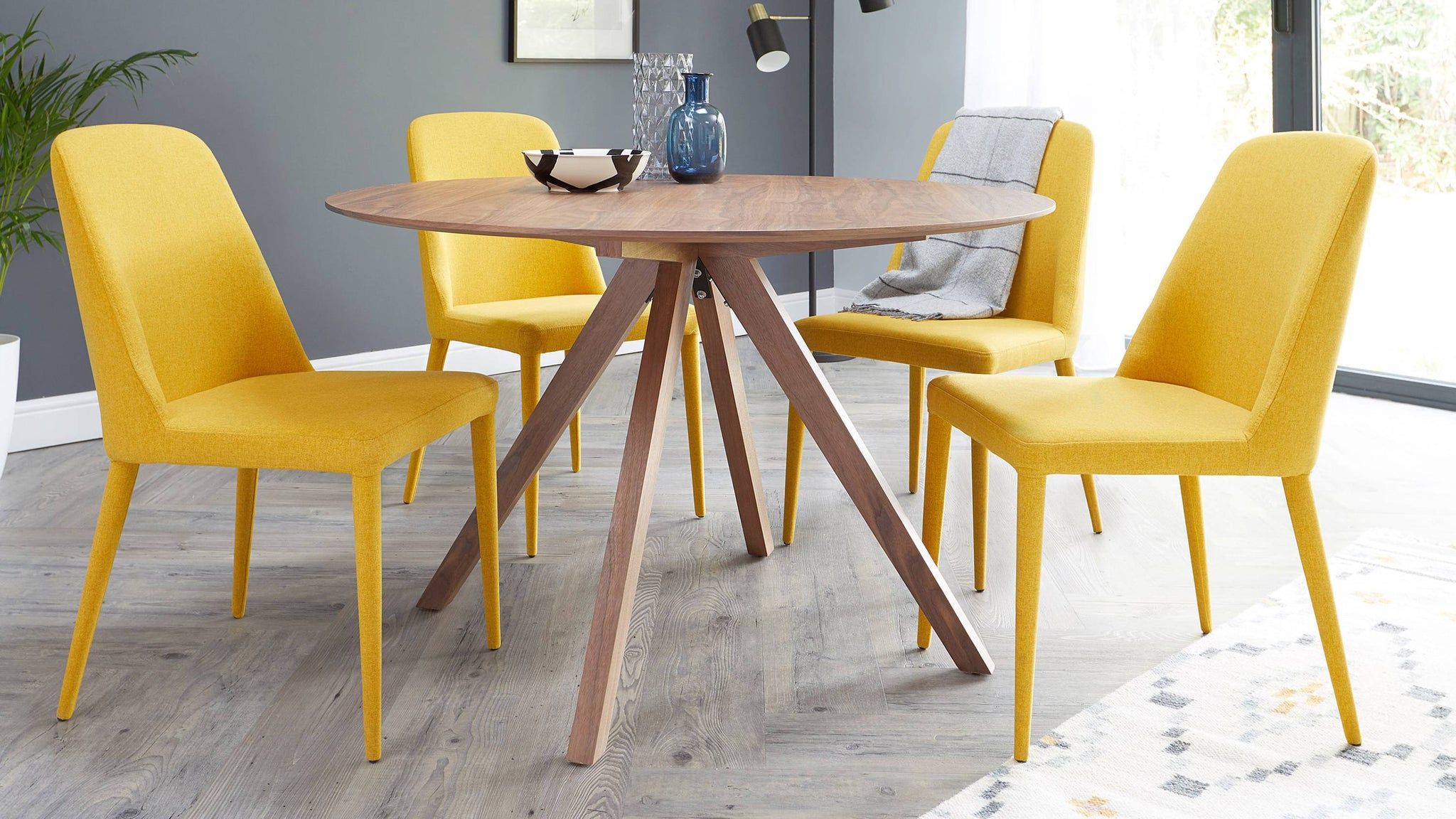 Buy bright fabric dining chairs