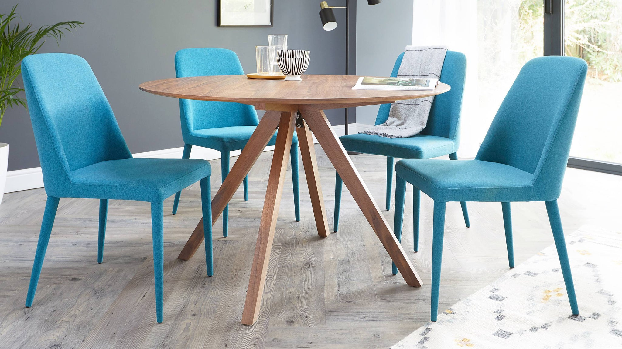 Buy modern fabric dining chairs