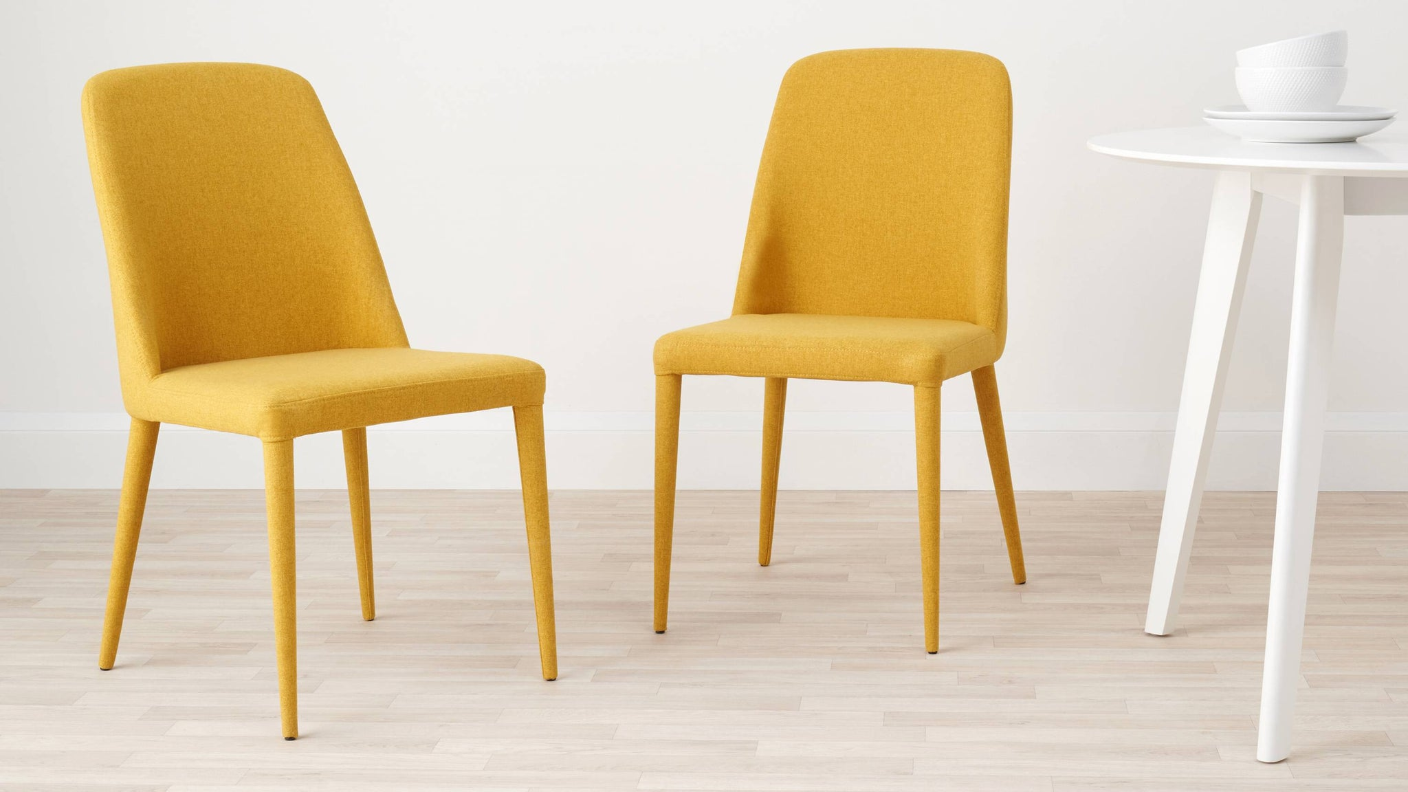 Mustard yellow fabric dining chair