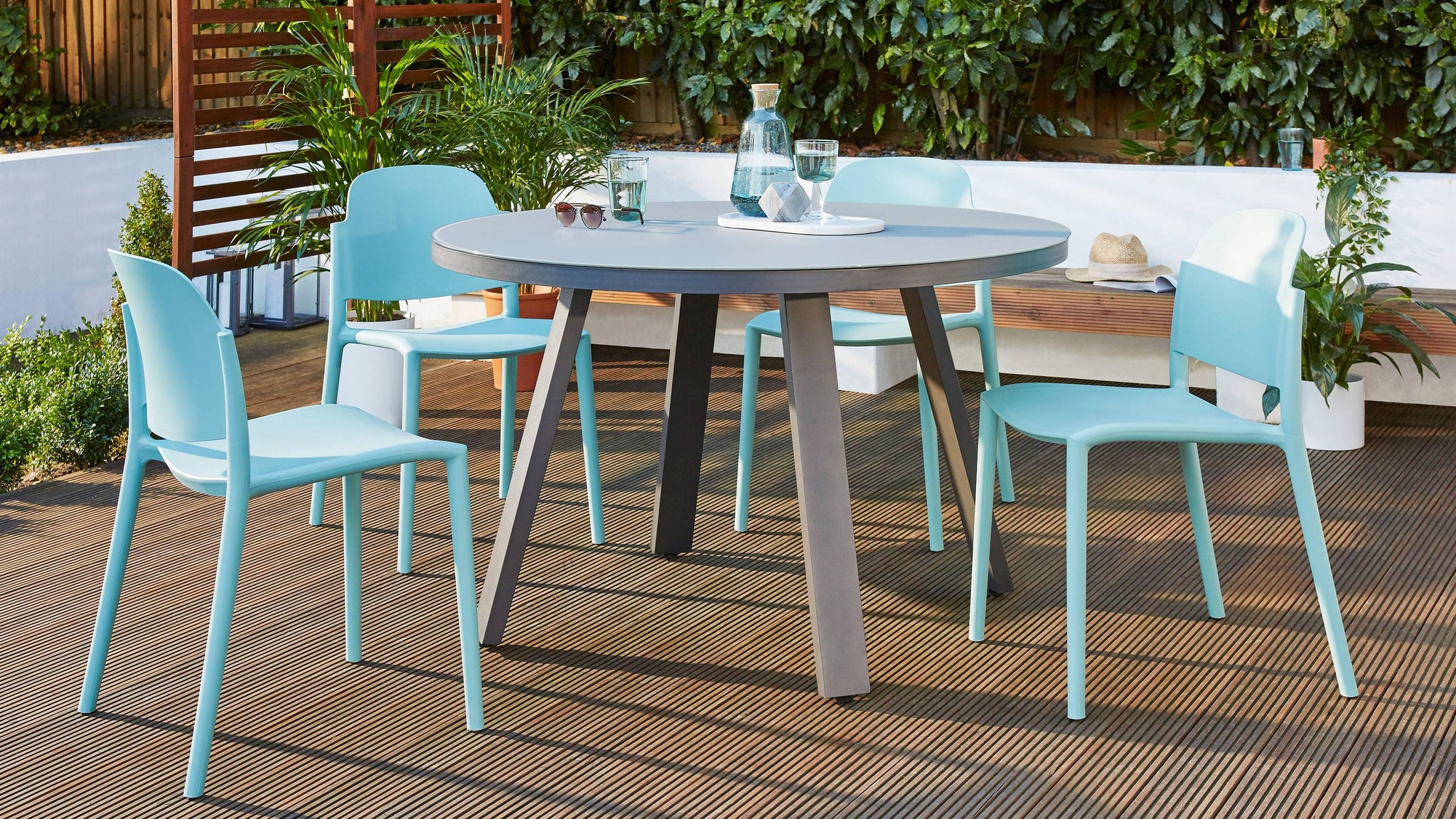 Z DROPPED - Koko Grey Round 4 Seater Garden Dining Table