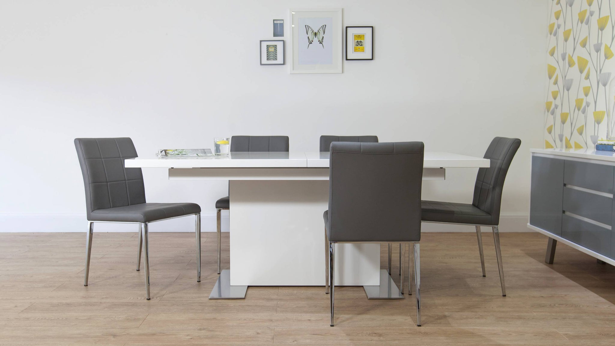 Contemporary White Gloss Dining Table and Grey Dining Chairs
